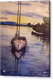 Sailboat In The Mangroves Of Costa Rica Acrylic Print by Ronald Ataide
