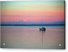 Acrylic Print featuring the digital art Sailboat In The Sunset. by Timothy Hack