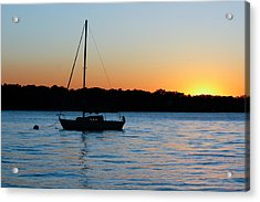 Acrylic Print featuring the photograph Sailboat Moored At Sunset by Ann Murphy