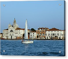 Sailboat On The Giudecca Acrylic Print by Bishopston Fine Art