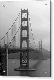 Sailboat Passing Under Golden Gate Bridge Acrylic Print by Connie Fox
