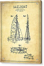 Sailboat Patent Drawing From 1938 - Vintage Acrylic Print by Aged Pixel