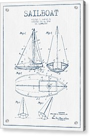 Sailboat Patent Drawing From 1948  -  Blue Ink Acrylic Print