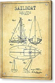 Sailboat Patent Drawing From 1948 - Vintage Acrylic Print