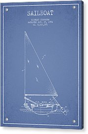Sailboat Patent From 1991- Light Blue Acrylic Print
