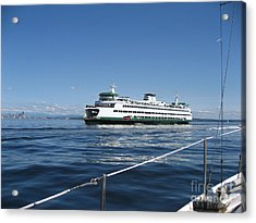 Sailboat Sees Ferryboat Acrylic Print by Kym Backland