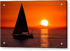 Sailboat Sunset Acrylic Print by Alexis Birkill