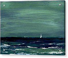 Sailboats Across A Rough Surf Ventura Acrylic Print by Cathy Peterson