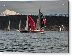 Sailboats And Mt Baker Acrylic Print