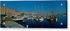Sailboats At A Harbor, Barcelona Acrylic Print by Panoramic Images