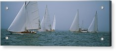 Sailboats At Regatta, Newport, Rhode Acrylic Print by Panoramic Images