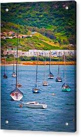 Sailboats At Simons Town Acrylic Print