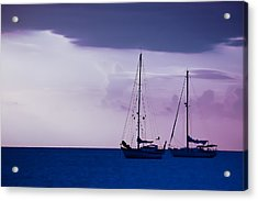Acrylic Print featuring the photograph Sailboats At Sunset by Don Schwartz