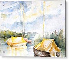 Sailboats Awakening Acrylic Print by Barbara Pommerenke
