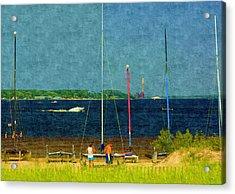 Sailboats Beached Acrylic Print by Rosemarie E Seppala