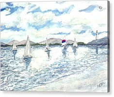 Sailboats Acrylic Print by Derek Mccrea