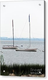 Sailboats In Battery Park Harbor Acrylic Print