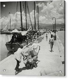 Sailboats In Haiti Acrylic Print by Cecil Beaton