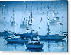 Sailboats In The Fog II Acrylic Print