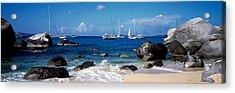 Sailboats In The Sea, The Baths, Virgin Acrylic Print by Panoramic Images