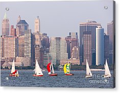 Sailboats On The Hudson I Acrylic Print by Clarence Holmes
