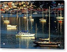 Sailboats Sunrise Acrylic Print by Tim Nielsen