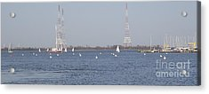 Acrylic Print featuring the photograph Sailboats With Chesapeake Bay Bridge Beyond by Christina Verdgeline