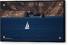 Sailing At Roosevelt Lake On The Blue Water Acrylic Print by Tom Janca