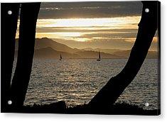 Sailing At Sunset On The Bay Acrylic Print by Robert Woodward