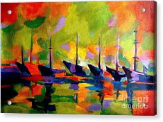 Sailing Boats By The River Acrylic Print by Helena Wierzbicki