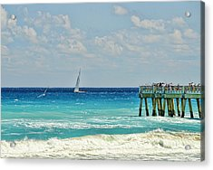 Sailing By The Pier Acrylic Print