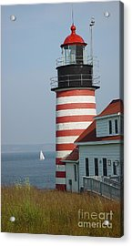 Sailing By West Quoddy Head Acrylic Print by Christopher Mace