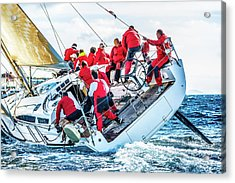 Sailing Crew On Sailboat During Regatta Acrylic Print by Mbbirdy