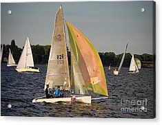 Sailing Dinghy At Stralsund Regatta Germany Acrylic Print by David Davies