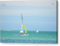 Sailing In The Gulf Of Mexico Acrylic Print by Bill Cannon