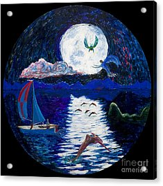 Sailing In The Moonlight Acrylic Print by Walt Brodis
