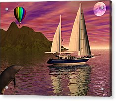 Sailing Into The Sunset Acrylic Print by Michele Wilson