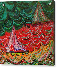 Sailing On Fire Acrylic Print by Judi Mosby