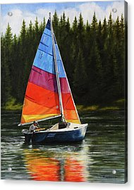 Sailing On Flathead Acrylic Print by Kim Lockman