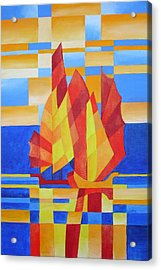 Acrylic Print featuring the painting Sailing On The Seven Seas So Blue by Tracey Harrington-Simpson