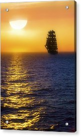 Sailing Out Of The Fog At Sunrise Acrylic Print