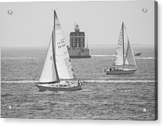 Acrylic Print featuring the photograph Sailing Past Ledge Light - Black And White by Kirkodd Photography Of New England