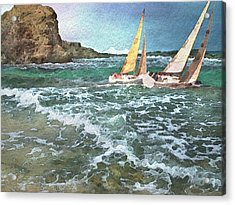 Sailing Past The Rock Acrylic Print by Philip White