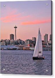 Sailing Puget Sound Acrylic Print by Adam Romanowicz