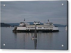 Acrylic Print featuring the photograph Sailing Regatta And Issaquah Ferry by E Faithe Lester