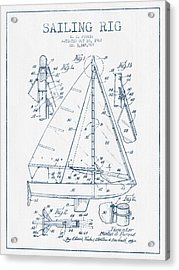 Sailing Rig Patent Drawing From 1967  -  Blue Ink Acrylic Print
