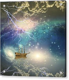 Acrylic Print featuring the digital art Sailing Ship Sails Through The Stars by Bruce Rolff