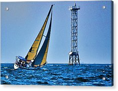 Acrylic Print featuring the photograph Sailing Towards The Tower by Pamela Blizzard