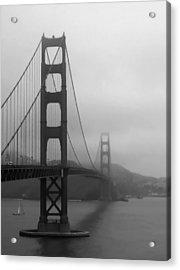 Sailing Under The Golden Gate Bridge Bw Acrylic Print by Connie Fox