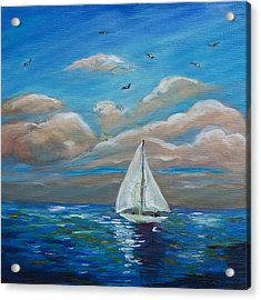 Sailing With My Dad Acrylic Print by Linda Olsen